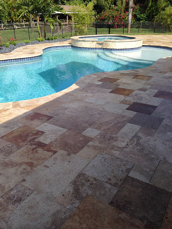 Non Slip Travertine Pool Deck, Jupiter Farms, FL