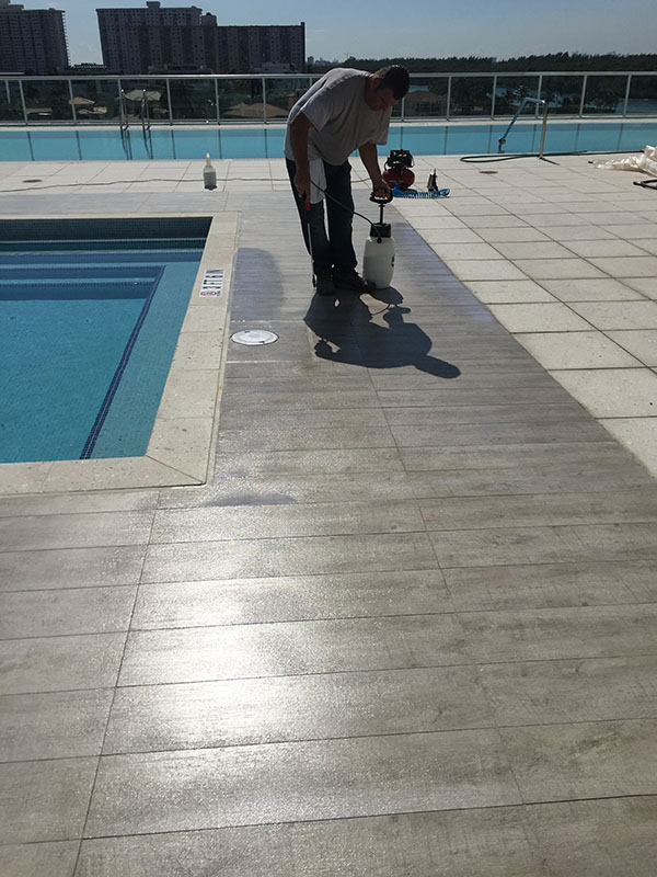 Slippery Porcelain Tiles On Pool Deck National Sealing