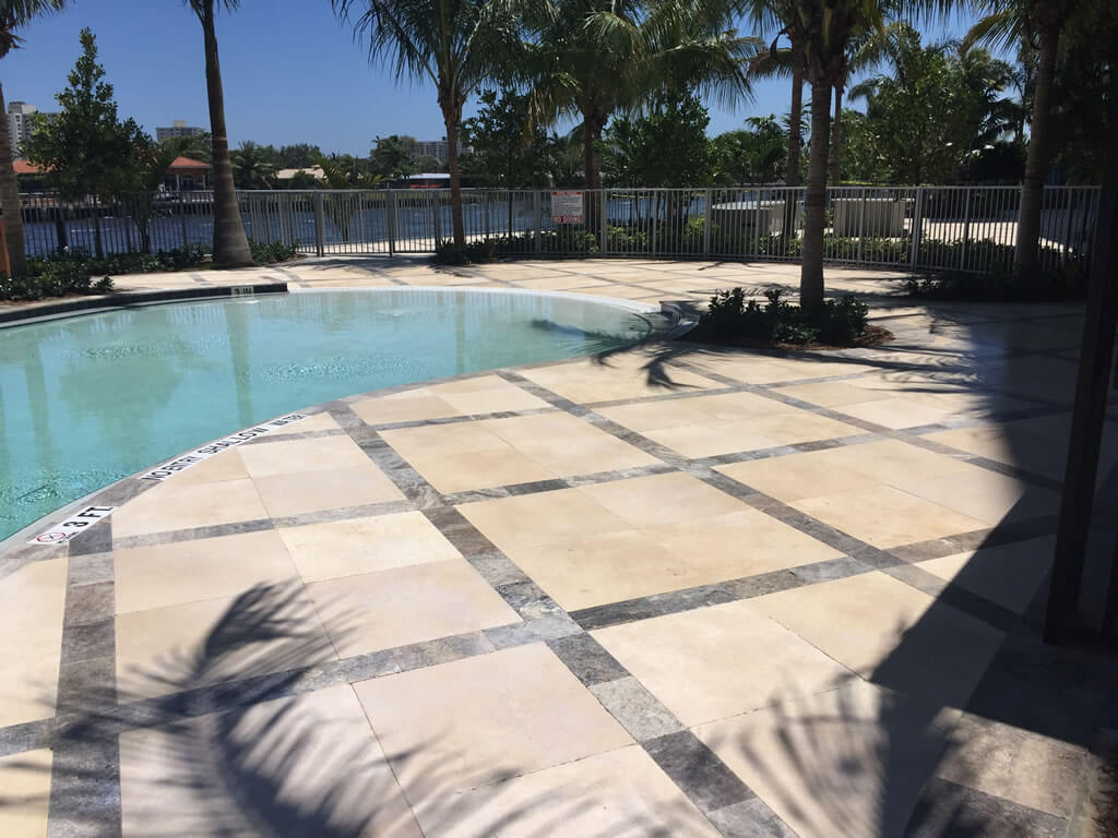 Non Slip Anti Lication Travertine Pool Deck