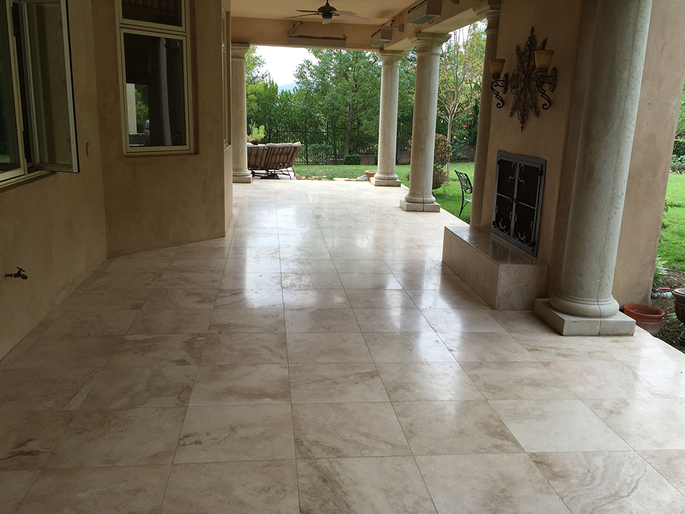 Non Slip Application on Travertine Stone by National Sealing Co.