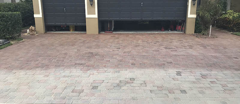 Comparing the treated pavers with the faded pavers